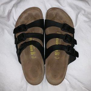 Birkenstock Florida - 3 Strap Black Sandals, sz 42